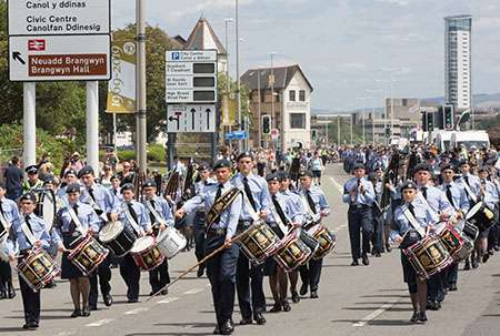Air Cadets march in the parade through Swansea to mark 100 years since the Alcock and Brown flight.