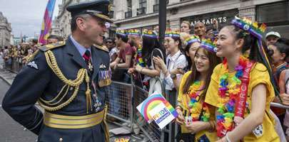 Air Marshal Andrew Mark Turner CB CBE seen here talking to memebrs of the public at the Pride in London Parade