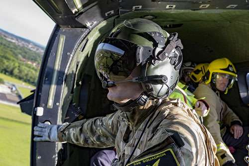 Members of the Merseyside Fire and Rescue Service on board a Royal Air Force Puma Helicopter as part of Exercise Heart Attack, this was in order to strengthen readiness for national standby commitments for both the Fire and Rescue Service and the Royal Air Force.