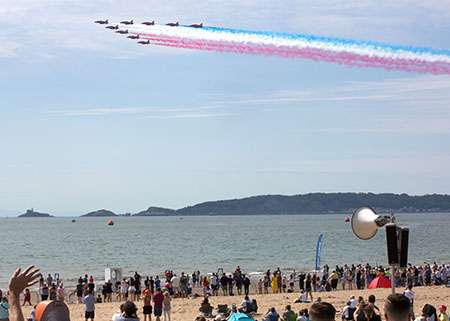 Red Arrows fly over Mumbles, Swansea Bay