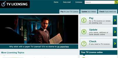 Image of a screenshot of the TV Licence website