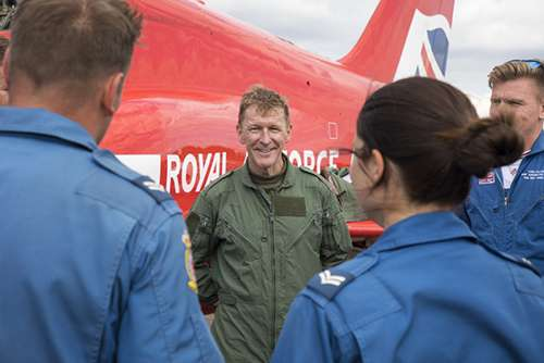 Tim Peake talking to engineers after his flight.