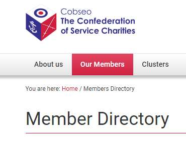 Screen shot of the top of the Cobseo website with the Member Directory heading.