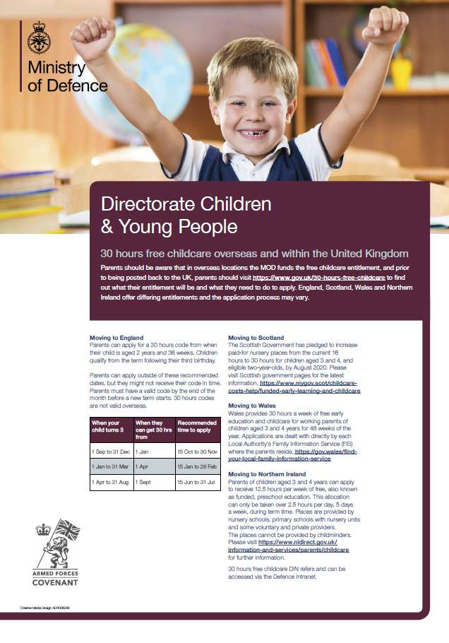 DCYP's poster explaining around the 30 hours free childcare overseas and within the UK.