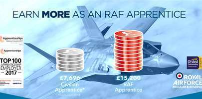Screenshot of the apprenticeship logo and slogan of earn more as an raf apprentice