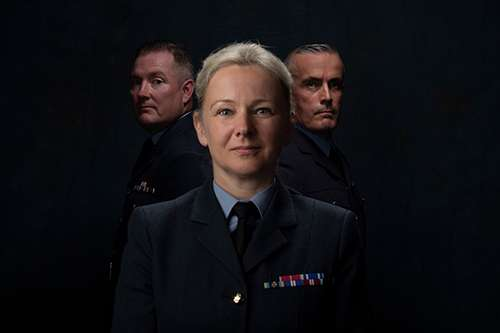 From left to right: Warrant Officer Si Bervoets, Group Captain Jo Lincoln, Warrant Officer Hywel Greening Image By: SAC Kim Waterson