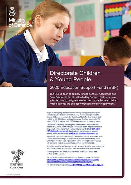 The ESF is open to publicly funded schools, Academies and Free Schools in the UK attended by Service children, where schools have to mitigate the effects on those Service children whose parents are subject to frequent mobility/deployment.