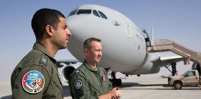 RAFO pilot Major Ahmed with RAF Mission Systems Operator Flight Sergeant Paul Riley