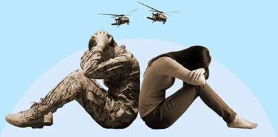 image of a serviceman and his partner sitting back to back with their heads down and in their hands with two helicopters flying over them.