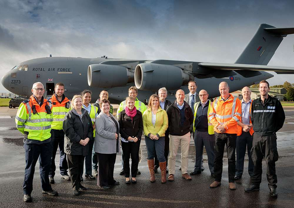 Members of 4624 Squadron and their Employers outside a C17 Globemaster III aircraft