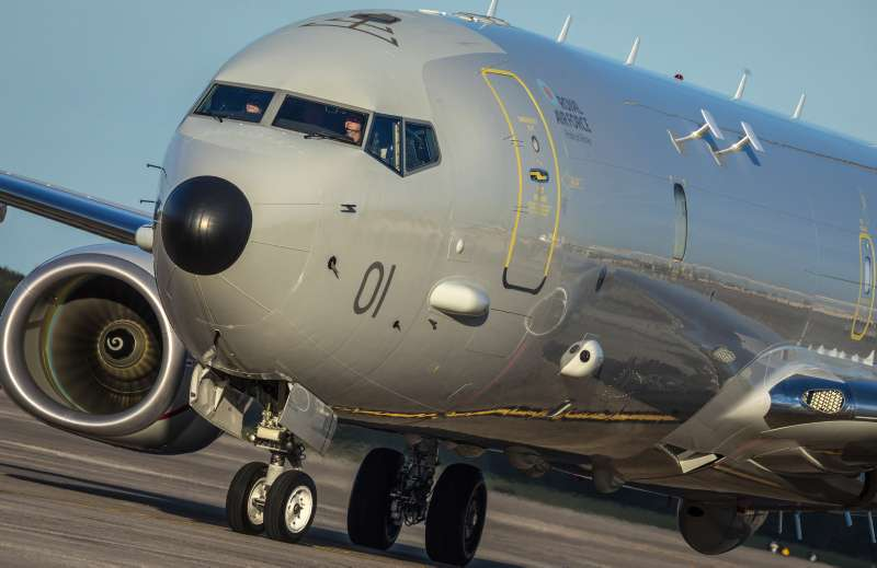 Image shows the first RAF P-8A Poseidon taxiing at NAS Jacksonville after being delivered to the RAF as the first P-8A Poseidon.