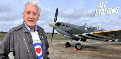 Image showing Allan Scott DFM stood in front of a Battle of Britain Spitfire.