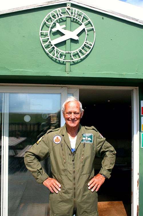 76-year-old RAF veteran completes wing-walk for charity. Photo of David 'Terry' Earl in his flying suit.