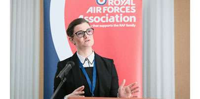 Flight Lieutenant Rosie Brooks, speaking at the RAF Association's inaugural national Research Symposium in London