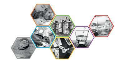 Cluster of mixed images shared as a cropped picture from the Lifting the Lid on Transition report cover.