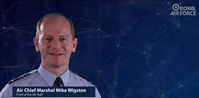 Image showing a film clip freeze of Chief of the Air Staff, Air Marshal Mike Wigston