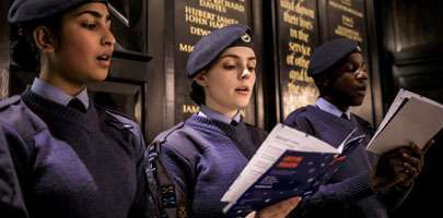 RAF Cadets singing in St Clement Danes