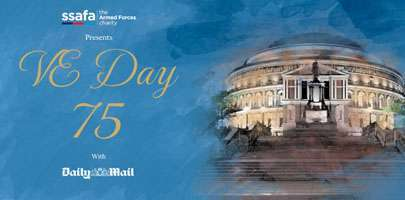 Image of VEDay 75 concert for SSAFA - image shows the Royal Albert Hall with wording.