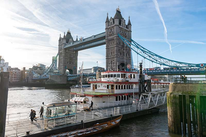 Picture of the Dixie Queen Boat moored at the Tower of London Bridge.