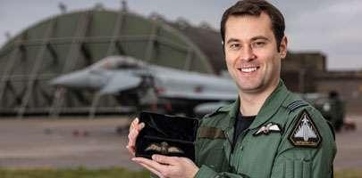 Image shows RAF Typhoon Pilot Flt Lt Brighty