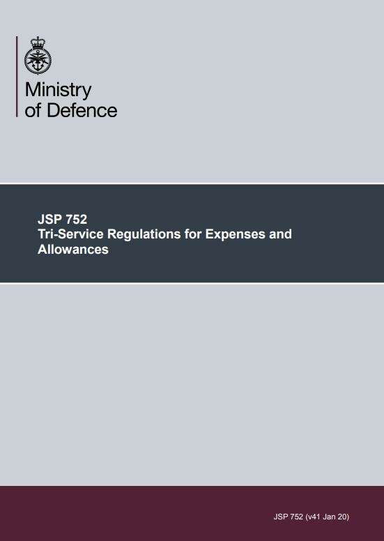 Image shows the front cover of JSP 752.