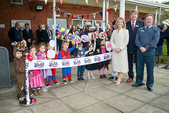 Local children mark the official opening of RAFA Kidz Cranwell, with Kate Wigston, wife of the Chief of the Air Staff, Nick Bunting, Secretary General of the RAF Association and Wing Commander Phil Mann.