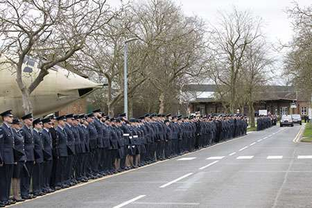 Image shows the exit route being lined by RAF Marham personnel for the end of Her Majesty The Queen's visit to RAF Marham.
