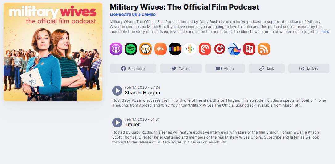 screengrab of the Military Wives podcasts.