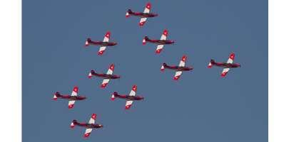 Nine PC-7 Pilatus training aircraft