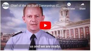 Image showing Chief of the Air Staff providing a video message to personnel and families