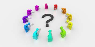 Image of colourful plasticine men sat in a circle with a question mark in the middle