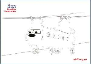 Image of our downloadable dot-to-dot poster of an RAF Chinook helicopter