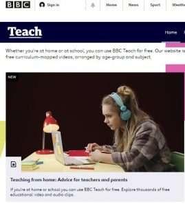 Screenshot of the BBC Teach homepage,