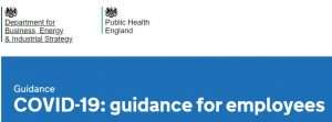Screenshot of the GOV.UK's guidance for employees page banner off it's website.
