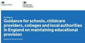 Screenshot of the top of the Government's guidance for schools, childcare providers, colleges and local authorities in England on maintaining educational provision.