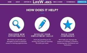 Screenshot of the LifeWorks 'How does it help' section of its website.
