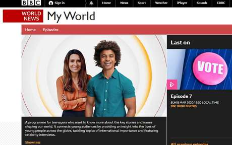 screenshot of BBC My World homepage