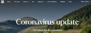 Snapshot of the National Trust's website