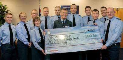 The cheque presented to Wing Commander Evans, Officer Commanding 4624 Squadron.