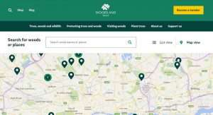 Screenshot showing a selection of Woodland Trust sites in the London area.
