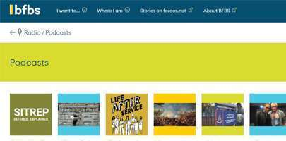 Screenshot of the BFBS Podcasts website