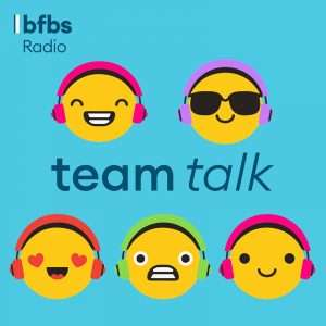 BFBS's branded title for Team Talk (five emojis with different looks to them and 'team talk' written across the middle.