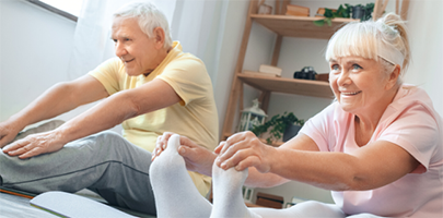 Couple staying active at home