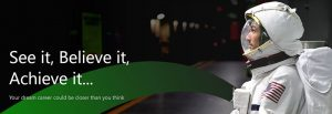 banner shot of the Imployable website with an astronaut looking at the words See it, Believe it, Achieve it...