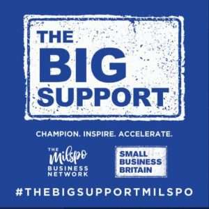 The Big Support logo and hashtag of #thebigsupportmilspo