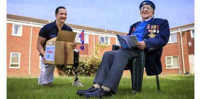 RAF Benevolent Fund Ambassador Mike Goody with D-Day veteran Stanley Northeast