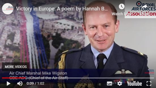 Screenshot of the Chief of the Air Staff starting off Hannah's poem - Hannah is PA to the Secretary General at RAFAl