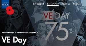 Screenshot of the VE Day section of the RBL website.