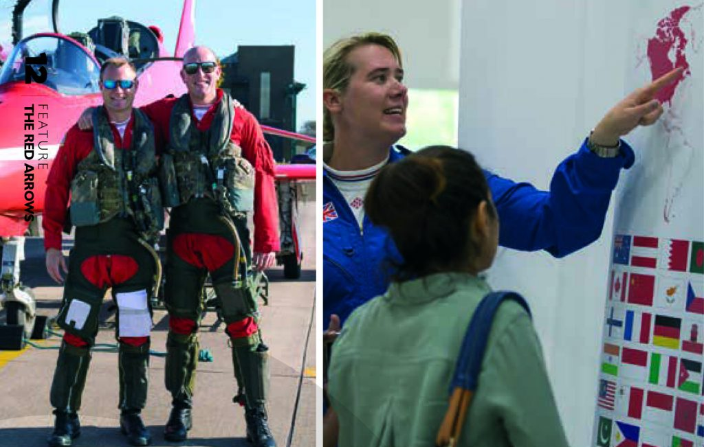 Two images of the Red Arrows article in the Summer edition of Envoy magazine 2020.