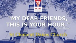 """Image of St Clement Dane's Church Twitter image with the church in teh background and text to say, """"My dear friends, this is your hour."""""""